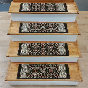"""Rug Depot 13 Traditional Non Slip Carpet Stair Treads 26"""" x 9"""" Brown - Wool"""