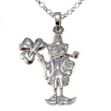 "Sterling Silver Irish Leprechaun with Shamrock Pendant with 18"" Chain & Box"