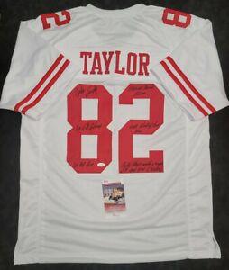 JOHN TAYLOR Signed Autographed SF 49ERS White Custom Jersey SZ XL. JSA Witness