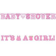 2 Pink Girl's New Baby Shower Con Amore Festa Ritaglio Lettera Banner Decorazioni