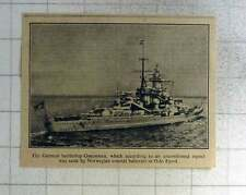1940 German Battleship Gneisenau Sunk By Norwegian Coastal Batteries Oslo Fjord