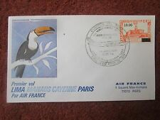 ENVELOPPE PREMIER VOL AIR FRANCE 747 LIMA MANAUS CAYENNE PARIS CORREOS DEL PERU