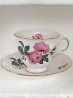 Queen Anne Pink Rose Floral Bone China Teacup Saucer Set England Vintage