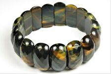 Beautiful Blue Yellow Golden Tiger Eye Stretch Bracelet - 7.5 inches - 6222A