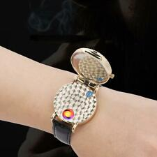 USB Cigarette Rechargeable Windproof Touch Sensor Lighter Military Decor Watch