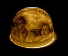 Photophore Litophane Portraits d' Angelots en Porcelaine Fine avec Bougie