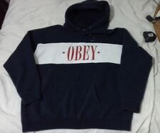 Obey men xl pullover hoodie Navy Blue White Red