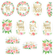BABY SHOWER Sweet Floral CUTOUT DECORATIONS (12) ~ Party Supplies Roses Girl