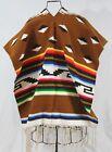 Vintage Mexican Woven Rug 70x32 Cowboy Serape Poncho Brown Fringe Diamond