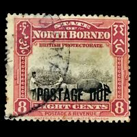 North Borneo 1928-31 8C Postage Due Ploughing With Buffalo Carmine/Black Stamp
