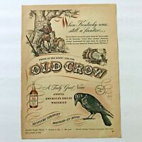 1948 Old Crow Whiskey Vintage Print Ad Daniel Boone Kentucky Original Magazine