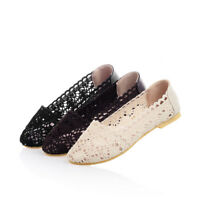 Womens Lace Crochet Ballet Flat Comfy Slip On Loafers Casual Ballerina Shoes New