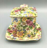 Vintage Royal Winton Grimwades Chintz Cheadle Square Jam  Mint Jar Underplate
