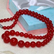 "Natural 6-14mm red Jade Round Gemstone Tower Beads Necklace 18"" AAA"