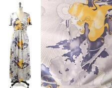 rare vtg BETSEY JOHNSON silk GODDESS art NOUVEAU kimono BOHO maxi dress 8 S/M