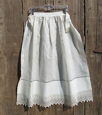 2 19th Century Aprons, Antique Edwardian 1800's Crisp White Crocheted Victorian