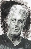 """Anthony Bourdain Limited Edition Print Wall Art Portrait Memorial Painting 17"""""""