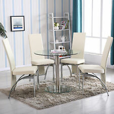 Round Glass 5 Piece Dining Table Set 4 Chairs Kitchen Room Breakfast Furniture