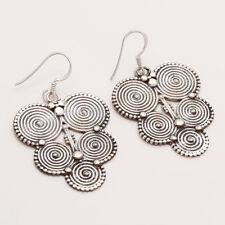 Retro Hippy Earring Women Fine Jewelry 925 Sterling Silver Indian Vintage Tribal