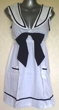 Nautical Sailor Mini Dress / Long Tunic Top ~ UK 10 / 12 M (38) White/Navy