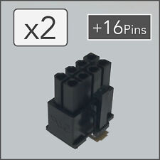 x2 8 pin Female PCI-e GPU Power Connector Socket - Black + 16 Pins
