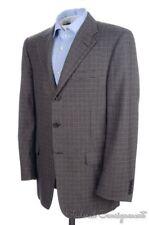 HICKEY FREEMAN Recent Gray Brown Check SILK WOOL COTTON Blazer Sport Coat - 40 R