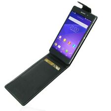 Pdair Black Leather Flip Top Case Cover for Sony Xperia Z2