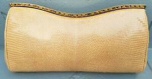 Vintage Judith Leiber Reptile Lizard Leather Cream Color Gold Hardware