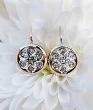 Antique Edwardian Inspired 14ct Yellow Gold & Diamond Round Flower Earrings