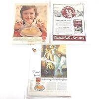 Lot of 3 Vintage 1924 & 1960s CAMPBELL'S Soup Print Ads Advertisements Art Decor