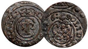 Sweden RIGA Solidus 1646 Queen Christina Billon Coin #12042