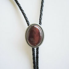 New Antique Silver Plated Vintage Red Tiger Eye Stone Western Cowboy Bolo Tie