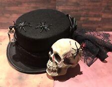 Halloween Sombrero De Fieltro Con Calavera/las arañas y telaraña Trail a mano 59 Cm