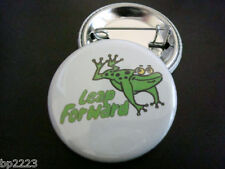 """Leap Forward Motivational Button Badge 1-1/4"""" w/Pinback, Reach Goals, Toad, Frog"""