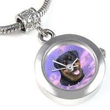 Rottweiler Dog Silver Quartz Watch European Spacer Charm Bead For Bracelet EBA38