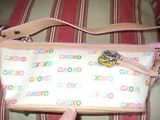 XOXO designer colorful faux leather vegan baguette handbag makeup bag shopper