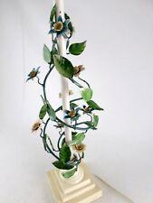 "Vintage Wilmar Metal Tole Table Lamp Floral Painted Flowers - 31"" Tall"