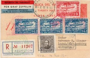 PARAGUAY: Registered Zeppelin airmail to Germany 1933. LZ127 Graf Zeppelin.
