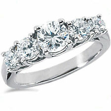 2.61 carat Round Diamond Anniversary Lucida Style Band 18k White gold Ring SI1