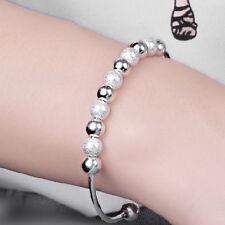 1X Fashion Womans Girls Lucky Silver Plated Beads Cuff Bracelet Fine Jewellery