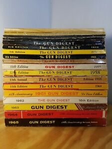 Gun Digest 1 - 19 Ed Lot   1963 Reprint of 1st 1944 Ed   Missing 10  1944 - 1965