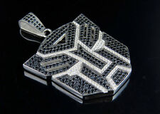 Men's White Gold Over Sterling Silver Transformer Simulated Diamond Pendant 2.2""