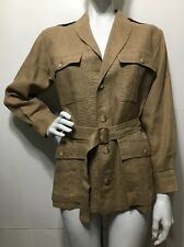 Ralph Lauren Linen Coat Belted Jacket Tan Brown Lux Military Style Safari Size 6