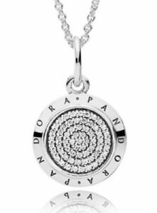 Genuine Pandora Silver S925 Signature Pave Necklace 60Cm 390375CZ