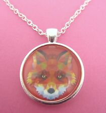 Fox Head Triangle Design Silver Pendant Glass Necklace New in Gift Bag Animal