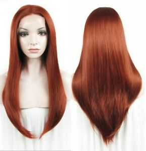 24inch Synthetic hair Lace front wigs Straight Daily use Copper Red