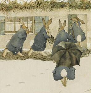 Rabbits Christmas Party, Arrival  by Beatrix Potter   Paper Print Repro