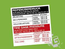 OPEL Manta Kadett Reifenüberdruck Reifendruck Aufkleber 185/70 HR 13 & mehr