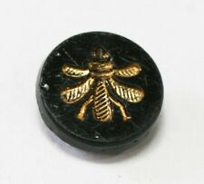 Antique Victorian Black Glass with Pictorial Golden Fly (Bee?)  Button