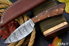 Custom Damascus Steel Hunting Knife Handmade With Walnut Handle (Z385-F)